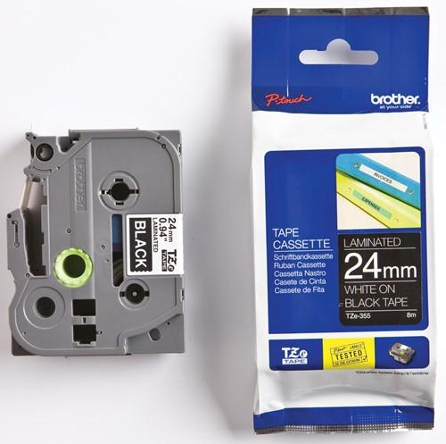 Brother TZe tape voor P-Touch 24 mm, wit op zwart