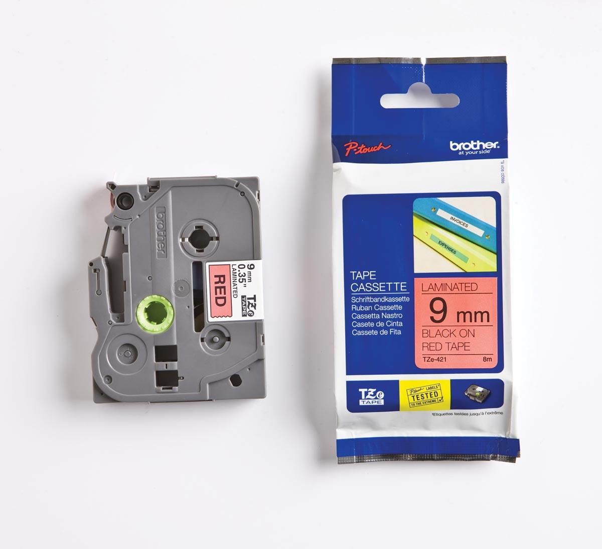 Brother TZe tape voor P-Touch 9 mm, zwart op rood