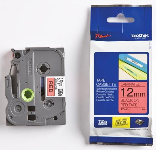 Brother TZe tape voor P-Touch 12 mm, zwart op rood