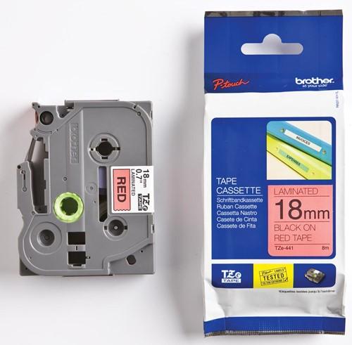 Brother TZe tape voor P-Touch 18 mm, zwart op rood