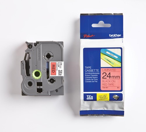 Brother TZe tape voor P-Touch 24 mm, zwart op rood