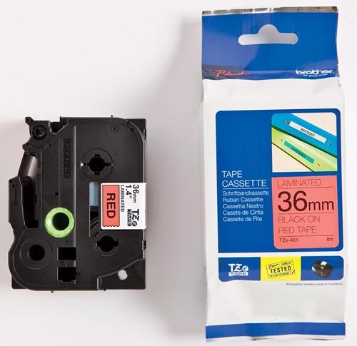 Brother TZe tape voor P-Touch 36 mm, zwart op rood