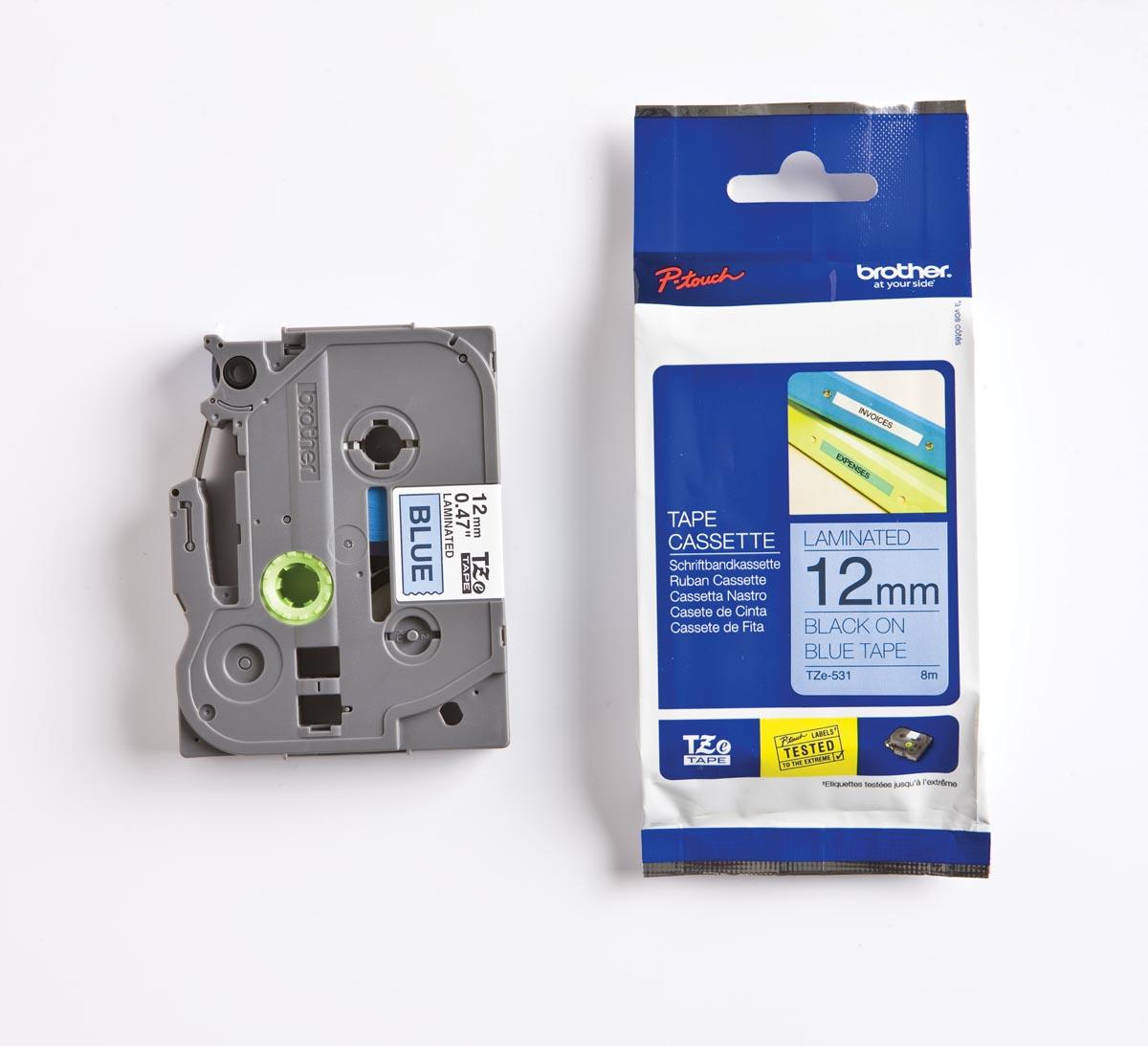 Brother TZe tape voor P-Touch 12 mm, zwart op blauw