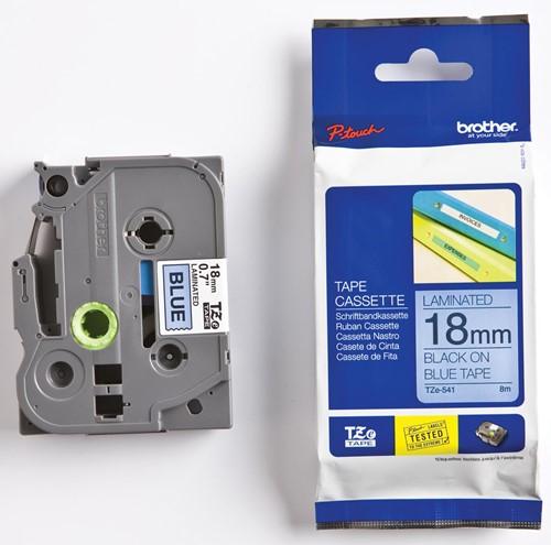 Brother TZe tape voor P-Touch 18 mm, zwart op blauw