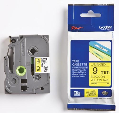 Brother TZe tape voor P-Touch 9 mm, zwart op geel