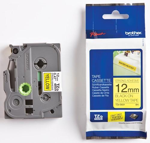 Brother TZe tape voor P-Touch 12 mm, zwart op geel