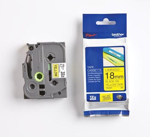 Brother TZe tape voor P-Touch 18 mm, zwart op geel