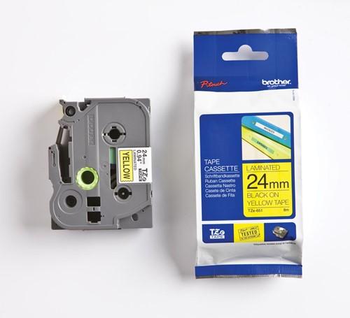 Brother TZe tape voor P-Touch 24 mm, zwart op geel