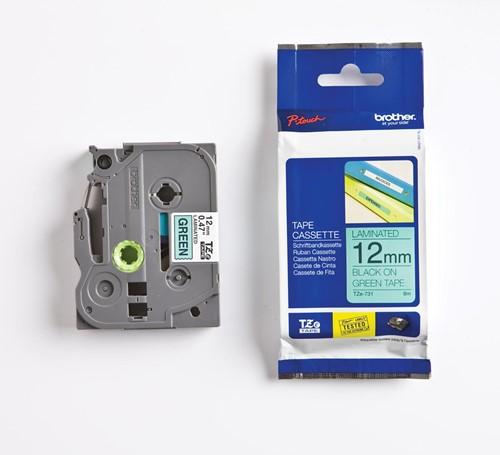 Brother TZe tape voor P-Touch 12 mm, zwart op groen