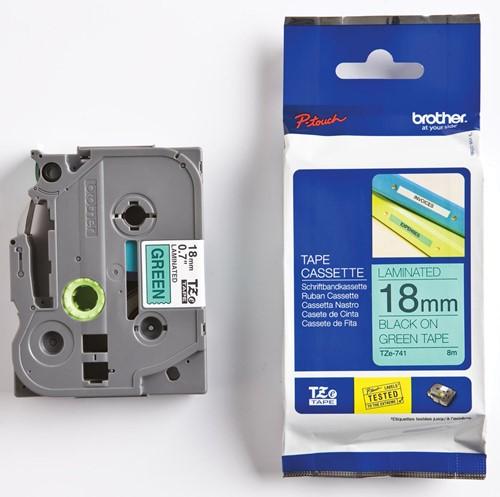 Brother TZe tape voor P-Touch 18 mm, zwart op groen