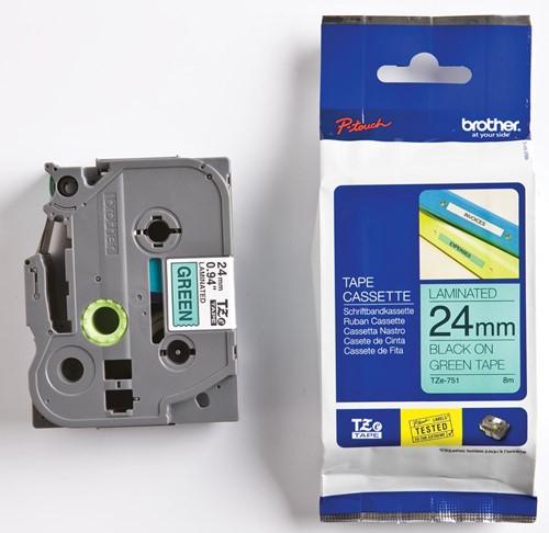 Brother TZe tape voor P-Touch 24 mm, zwart op groen