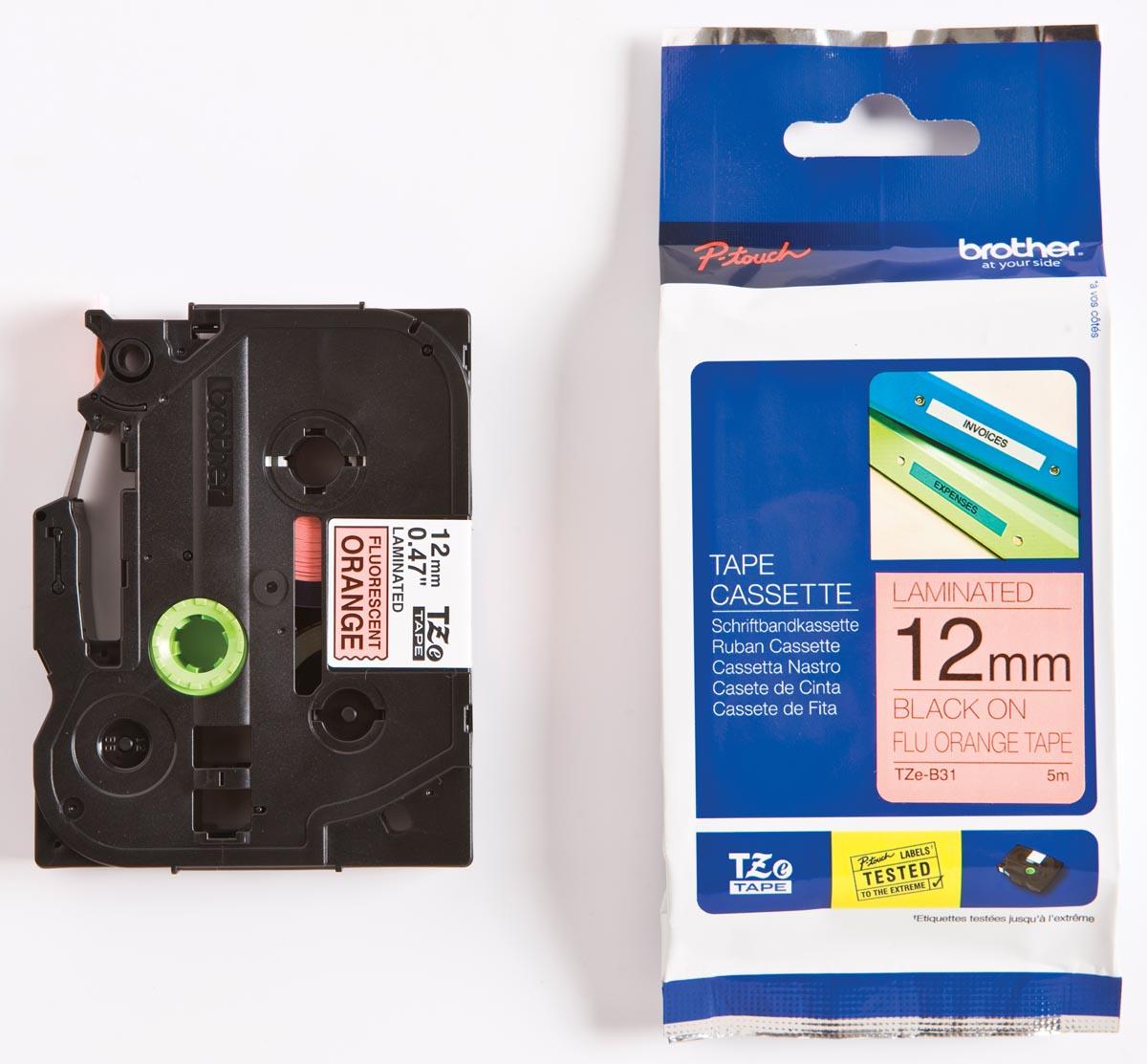 Brother TZe tape voor P-Touch 12 mm, zwart op fluo oranje