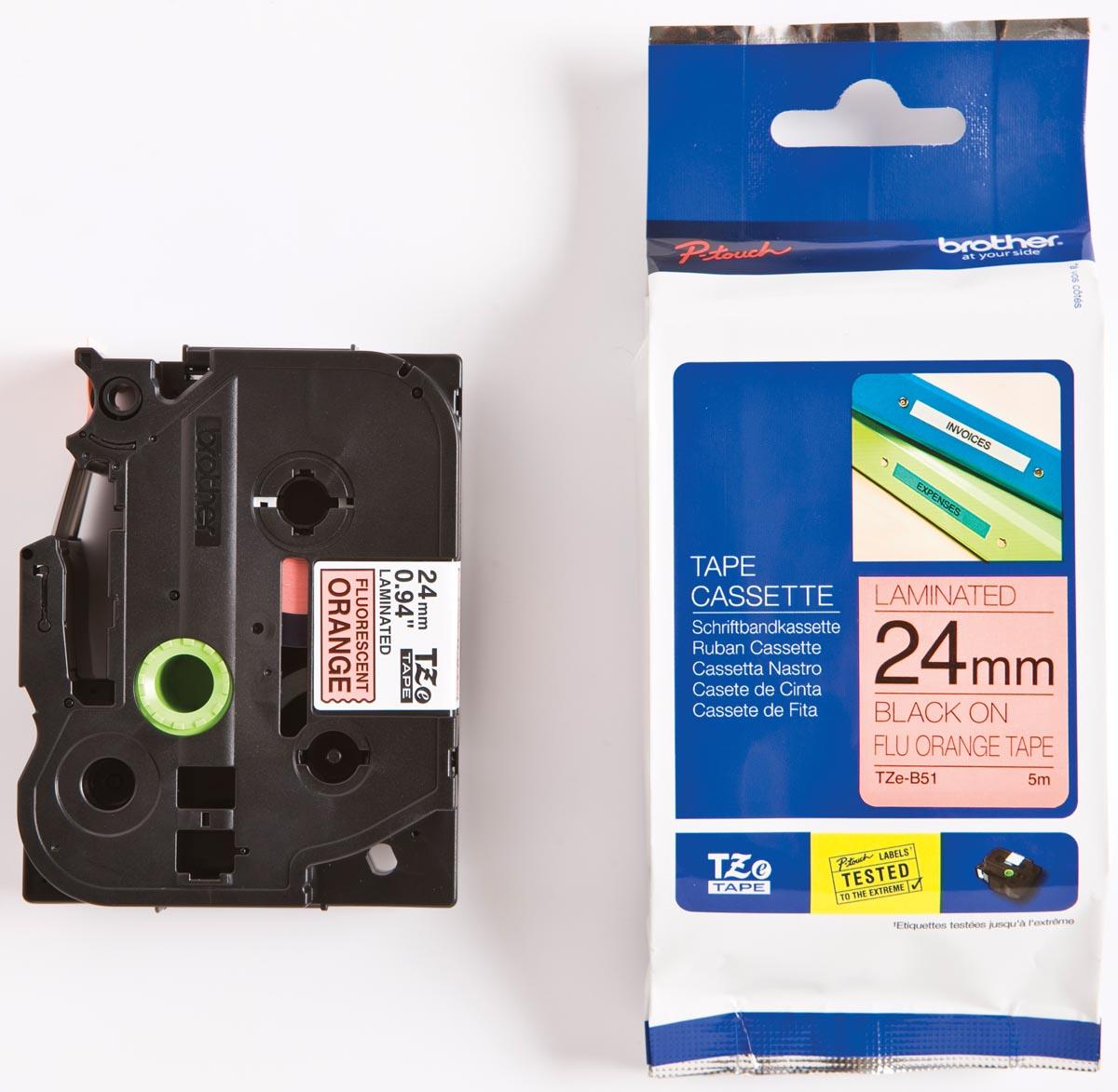 Brother TZe tape voor P-Touch 24 mm, zwart op fluo oranje
