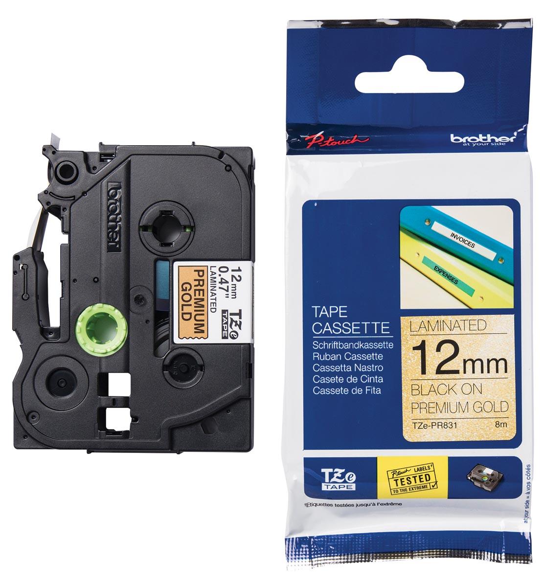 Brother TZe tape voor P-Touch 12 mm, zwart op goud
