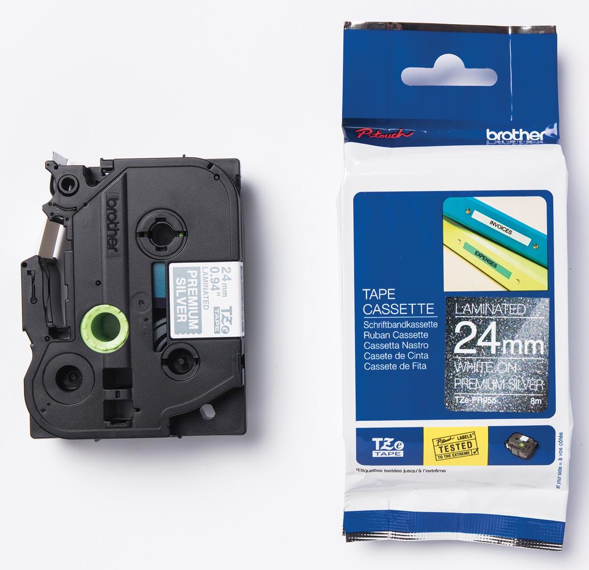 Brother TZe tape voor P-Touch 24 mm, wit op zilver