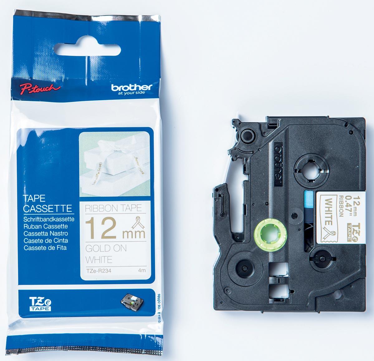 Brother TZe tape voor P-Touch 12 mm, goud op wit