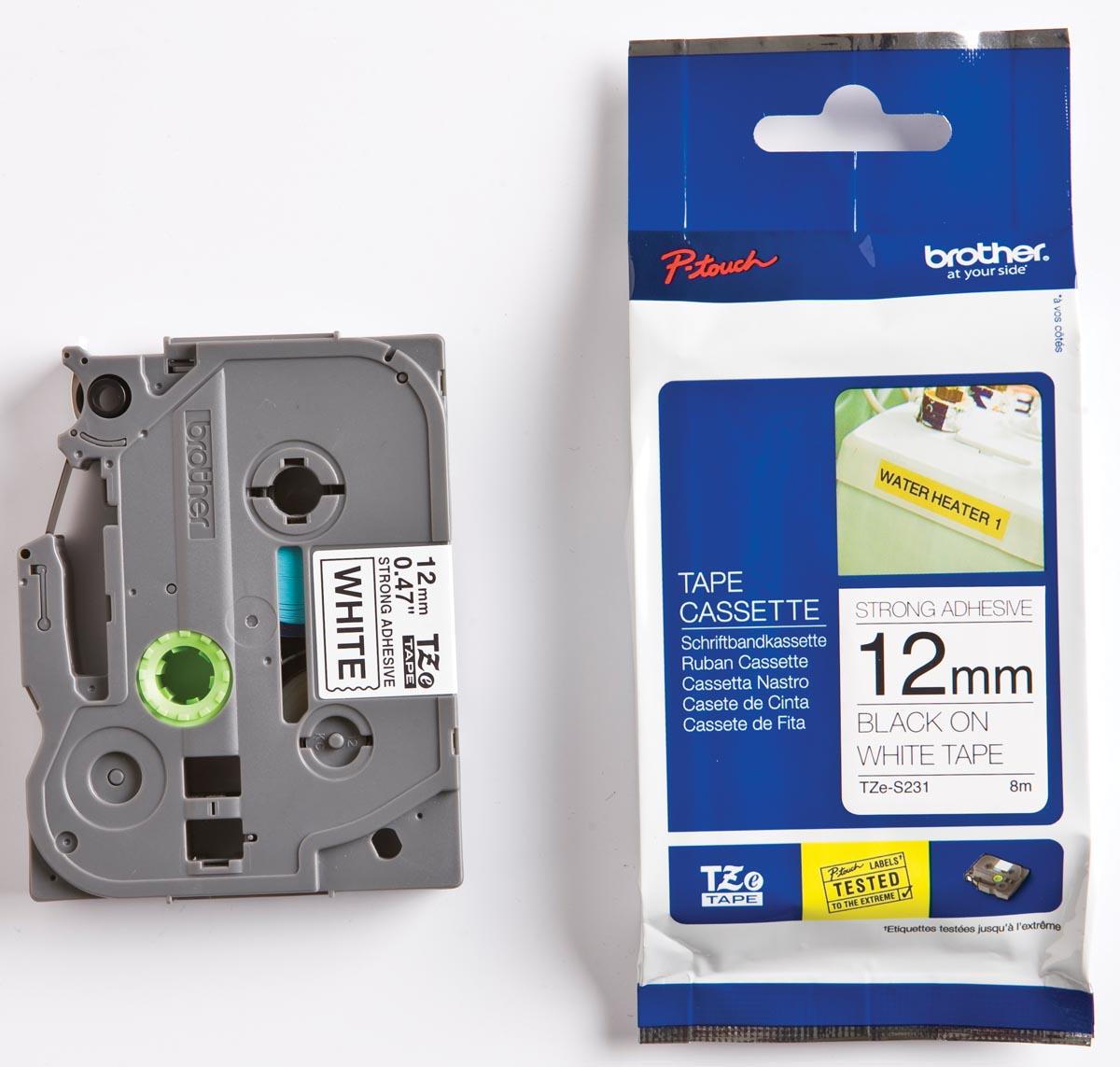 Brother TZe tape voor P-Touch 12 mm, zwart op wit, extra klevend