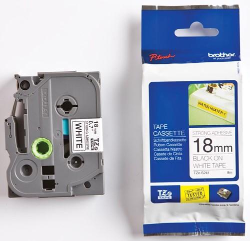 Brother TZe tape voor P-Touch 18 mm, zwart op wit, extra klevend