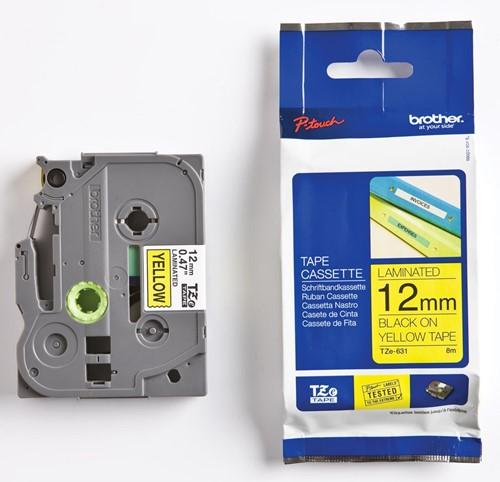 Brother TZe tape voor P-Touch 12 mm, zwart op geel, extra klevend