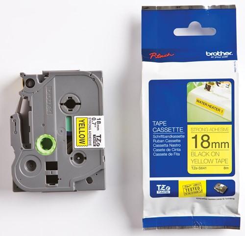 Brother TZe tape voor P-Touch 18 mm, zwart op geel, extra klevend