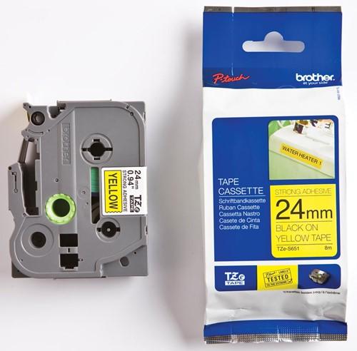 Brother TZe tape voor P-Touch 24 mm, zwart op geel, extra klevend