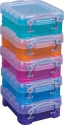 Really Useful Box 0,07 liter, geassorteerde kleuren, pak van 5 stuks