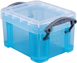 Really Useful Box 0,14 liter, transparant helblauw