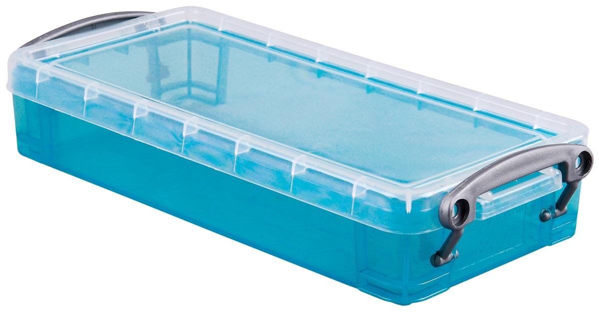 Really Useful Box 0,55 liter, transparant helblauw