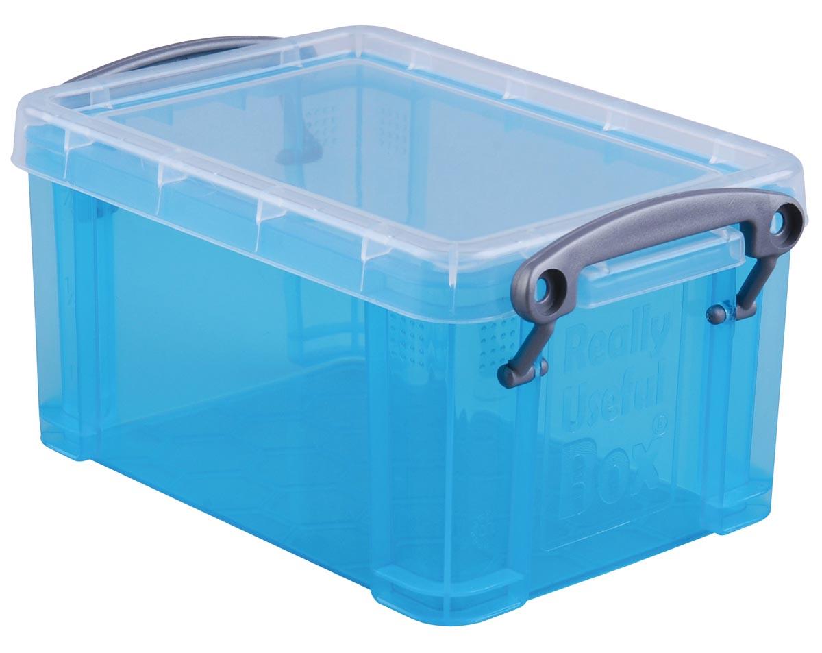 Really Useful Box 0,7 liter, transparant helblauw