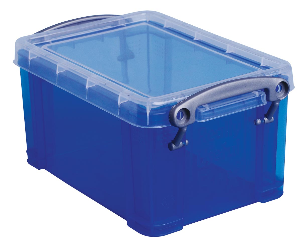 Really Useful Box 0,7 liter, transparant blauw