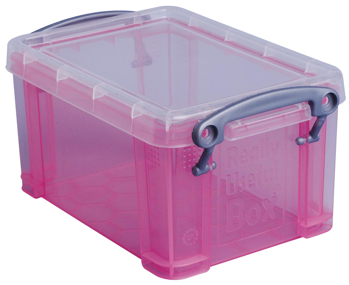 Really Useful Box 0,7 liter, transparant roze