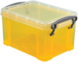 Really Useful Box 0,7 liter, transparant geel