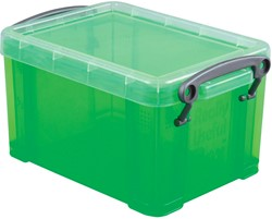 Really Useful Box 0,7 liter, transparant groen