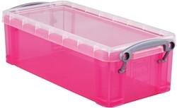 Really Useful Box 0,9 liter, transparant helroze