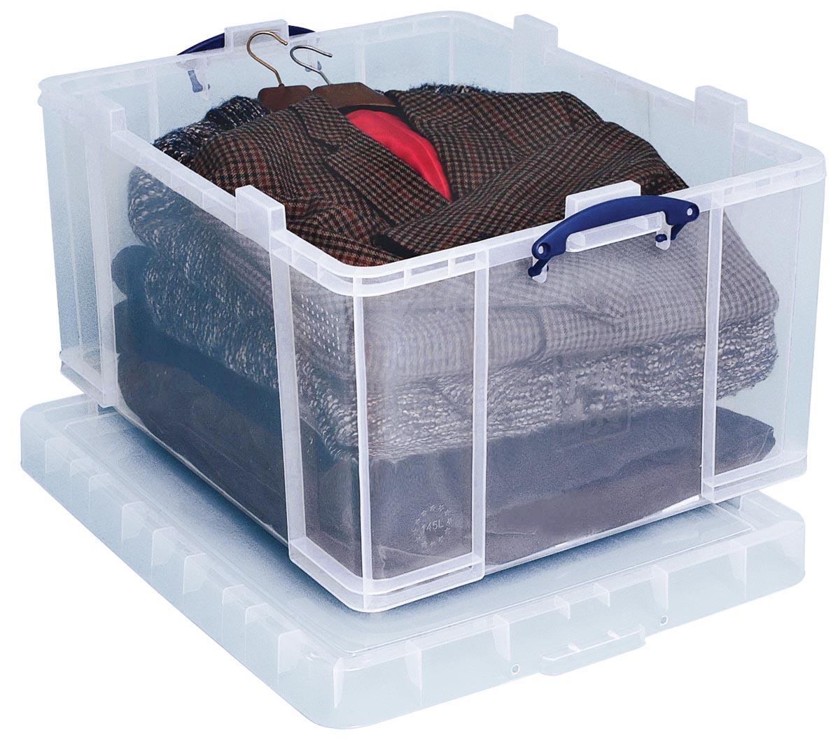 Really Useful Boxes transparante opbergdoos 145 l, buitenft 810 x 620 x 430 mm, binnenft 700 x 545 x