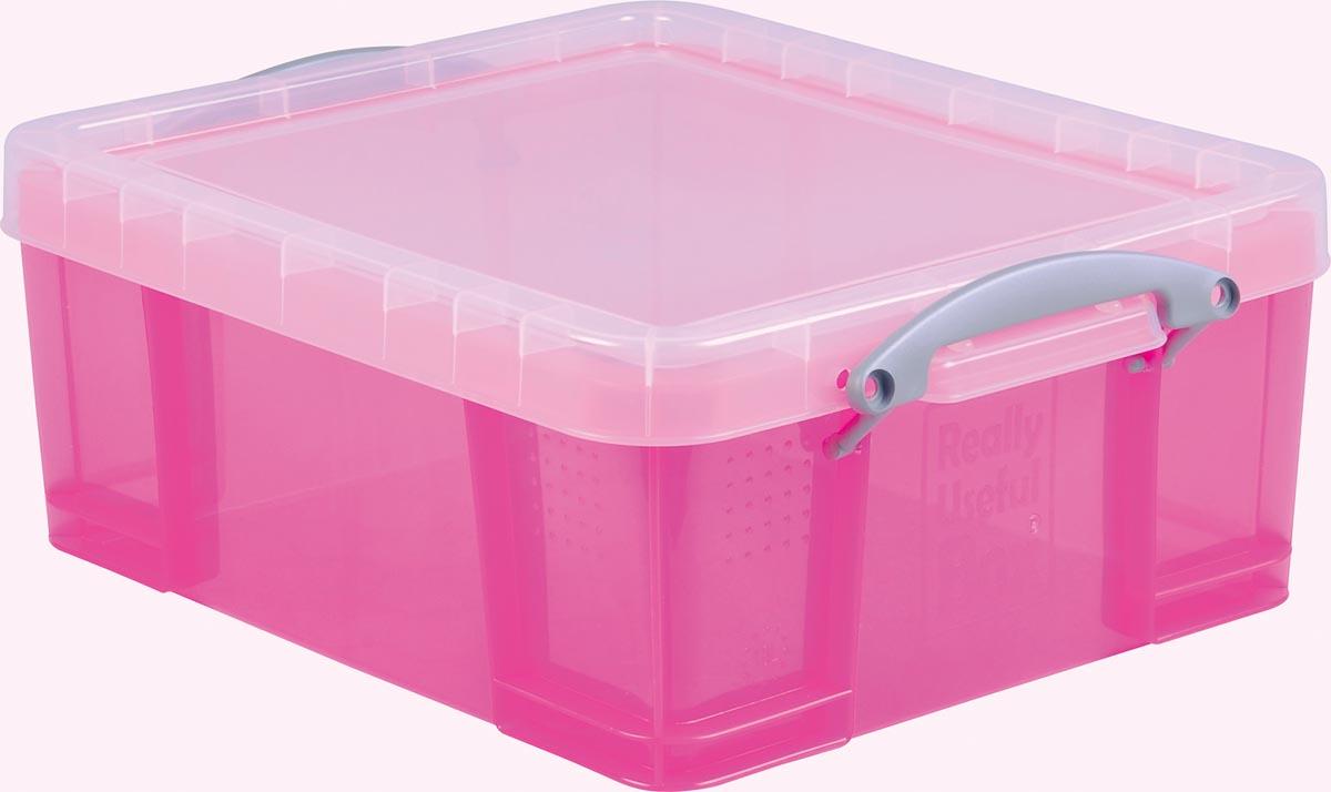 Really Useful Box opbergdoos 18 liter, transparant roze