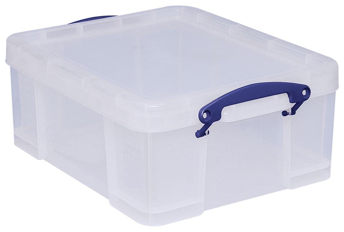 Really Useful Boxes transparante opbergdoos 21 l, buitenft 456 x 356 x 200 mm, binnenft 375 x 310 x