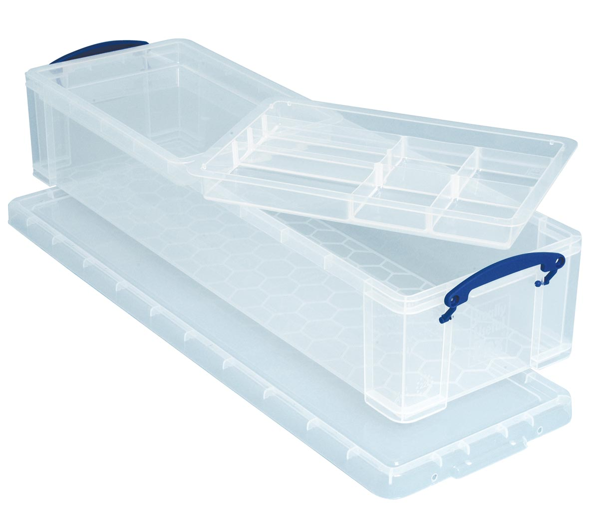 Really Useful Box opbergdoos 22 liter met 2 dividers, transparant
