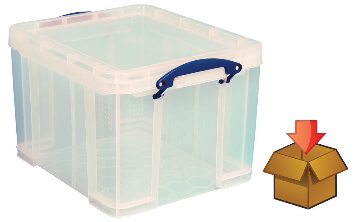 Really Useful Box 35 liter, transparant, per stuk verpakt in karton