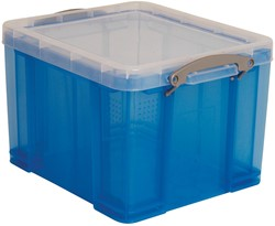 Really Useful Box 35 liter, transparant, blauw