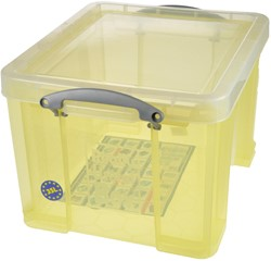 Really Useful Box 35 liter, transparant geel