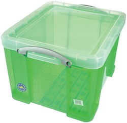 Really Useful Box 35 liter, transparant groen