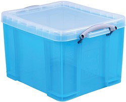 Really Useful Box 35 liter, transparant helblauw