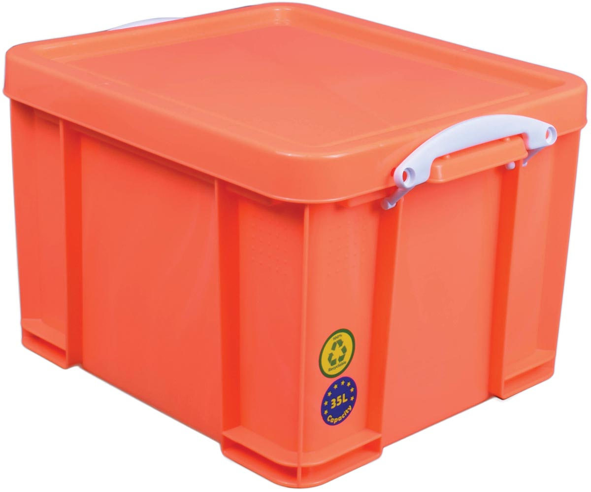 Really Useful Box opbergdoos 35 liter, neonoranje met witte handvaten