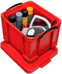 Really Useful Box opbergdoos 35 liter, rood met zwarte handvaten