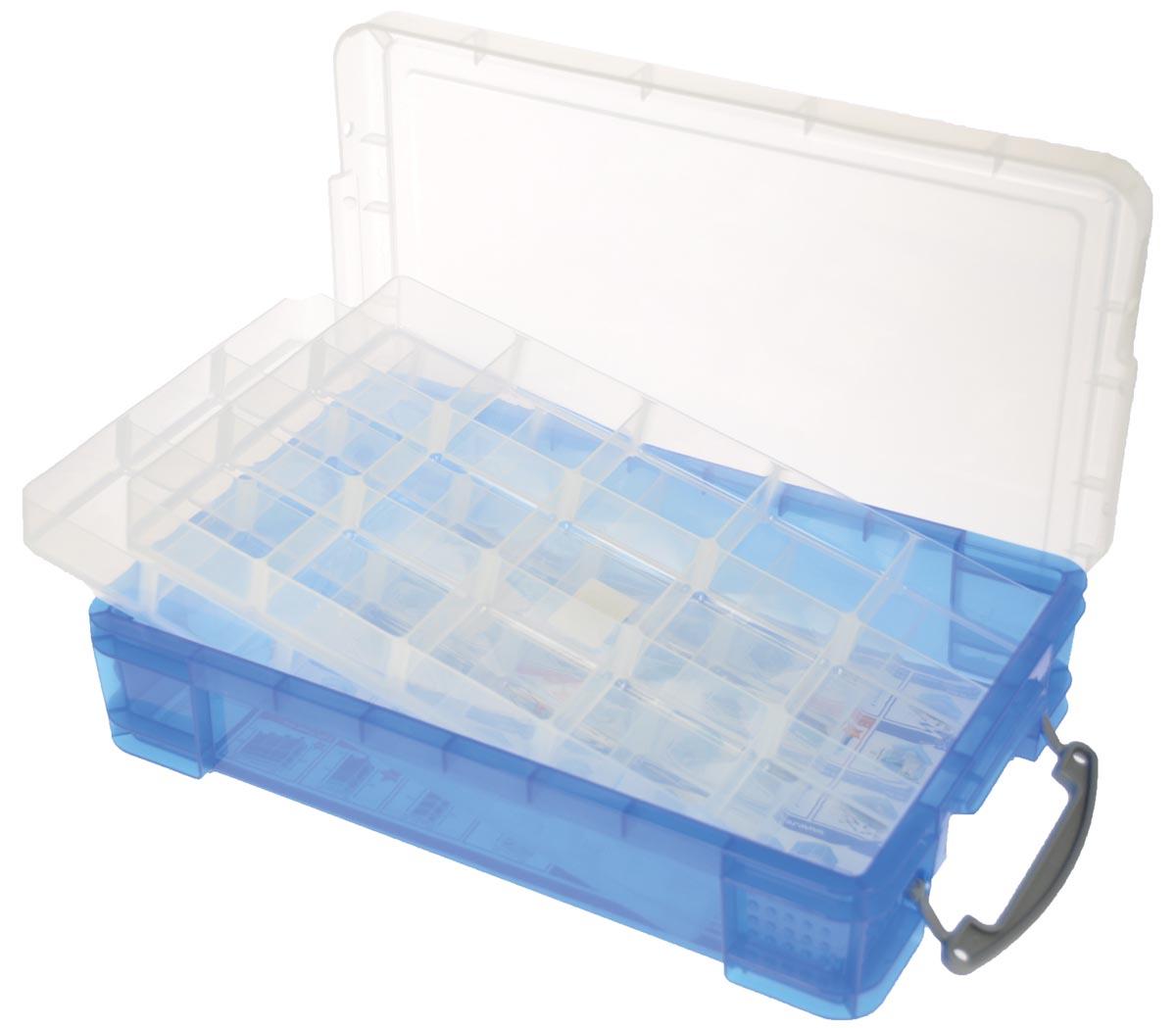 Really Useful Box opbergdoos 4 liter met 2 dividers, transparant blauw