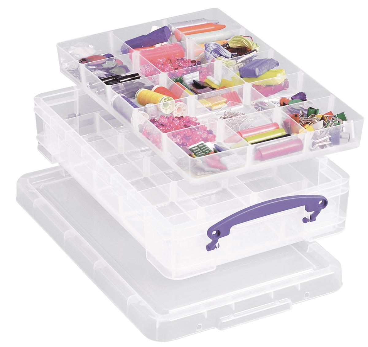 Really Useful Box opbergdoos 4 liter met 2 dividers, transparant