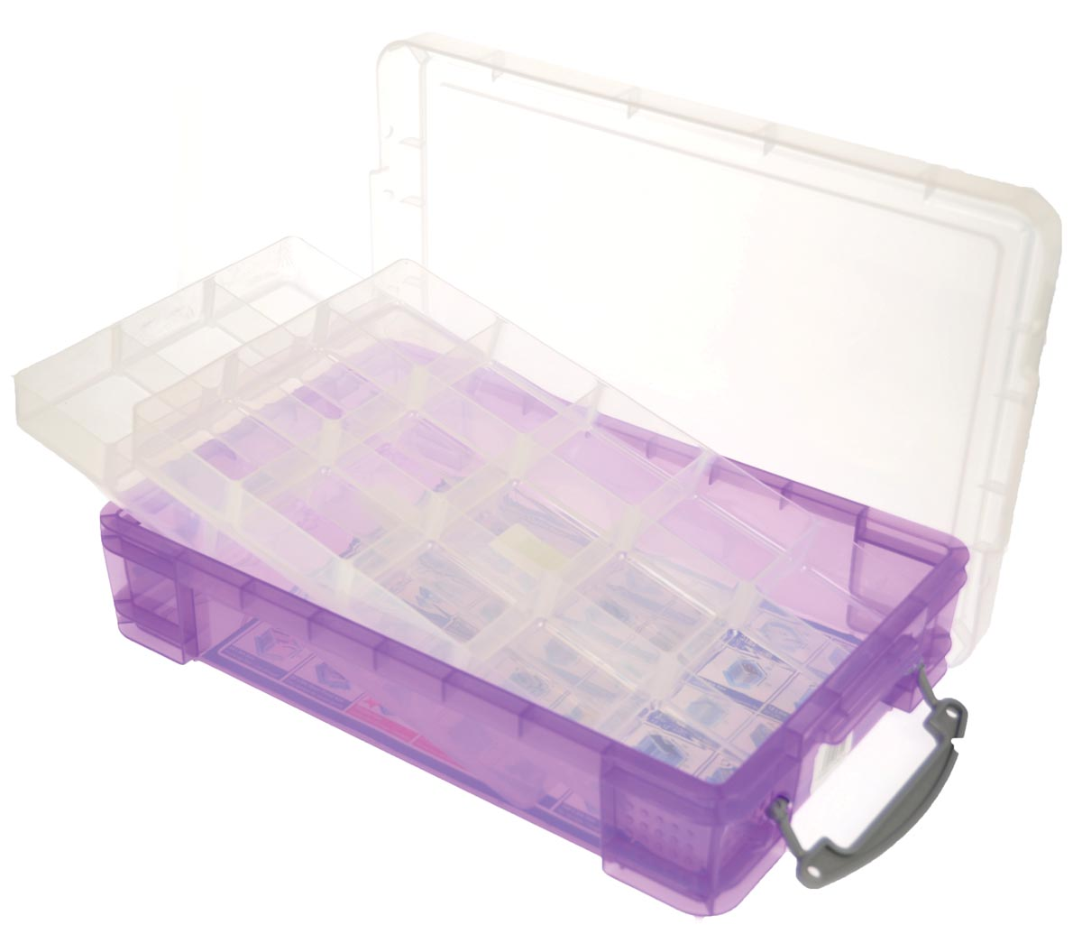 Really Useful Box opbergdoos 4 liter met 2 dividers, transparant paars