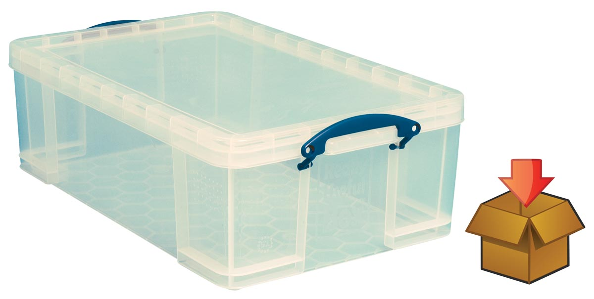 Really Useful Box 50l, transparant, per stuk verpakt in karton