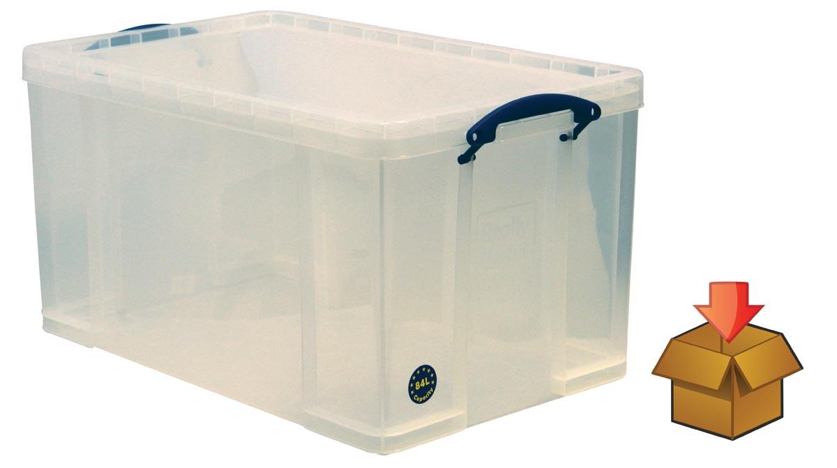 Really Useful Box 84 liter, transparant, per stuk verpakt in karton